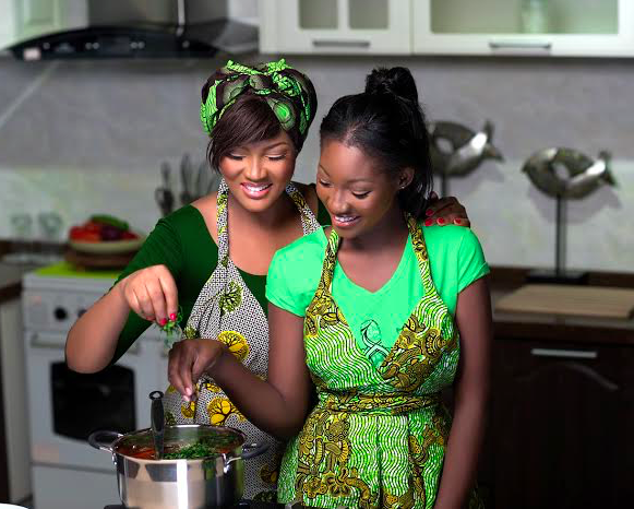 Omotola Jalade and Daughter